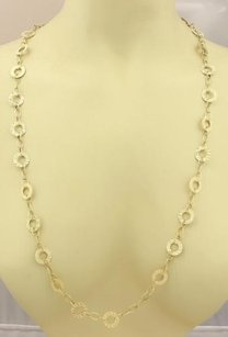 Estate Open Circle Long 14k Yellow Gold Textured Necklace 40 Long