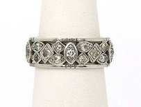 Estate Platinum 0.85ct Diamonds Ornate Ladies Wedding Band Ring -