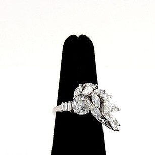 Estate Platinum 4ctw Diamond Solitaire Ring With Accent Diamonds