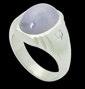 Estate Platinum 6.90 Tcw Star Sapphire Vs F Diamond Shield Ring 15.5g R684