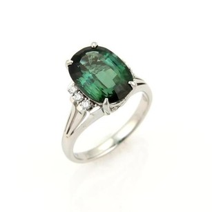 Estate Platinum Diamonds Green Tourmaline Cocktail Ring -