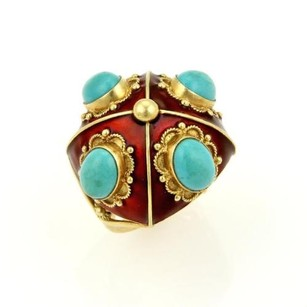 Estate Turquoise Red Enamel 18k Yellow Gold Floral Design Dome Ring