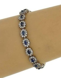 Other Estate Vintage 14k White Gold 11ctw Diamond Sapphire Tennis Bracelet