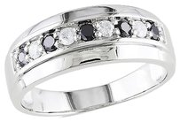 Other 10k White Gold 12 Ct Black And White Diamond Eternity Wedding Band Ring