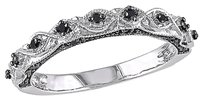Other 10k White Gold 18 Ct Black Diamond Tw Eternity Stackable Fashion Ring