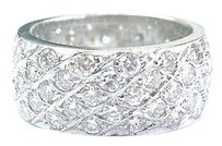 Other Fine Round Cut Diamond Wide White Gold Band Eternity Band Ring 4.00ct Sz 7.5