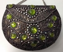 Other Boutique Hand Crafted India Tone Green Jewel Hard Shell Evening B2917 Silver Clutch