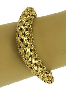 Exquisite Solid 18k Yellow Gold Woven Braided Style Ladies Hefty Bangle Bracelet