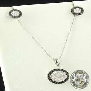 Fancy 925 Real Silver Si-1 Clear Black Lab Diamond Earring Pendant Chain Combo