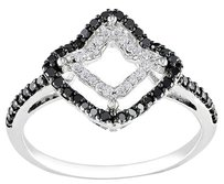 14k White Gold 13 Ct Prong-set Black And White Diamond Fashion Ring G-h I1-i2