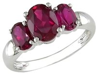 3.16 Ct Oval Red Ruby 3 Three Stone Ring In Sterling Silver