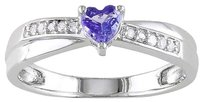 Sterling Silver 13 Ct Purple Tanzanite Diamond Heart Crossover Engagement Ring
