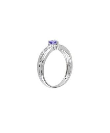 Other Sterling Silver 13 Ct Purple Tanzanite Diamond Heart Crossover Engagement Ring
