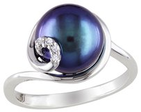 Sterling Silver 9-9.5 Mm Black Freshwater Pearl Diamond Ring 0.02 Ct G-h I2-i3