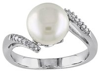 0.06 Ct Diamond 9 - 9.5 Mm White Freshwater Pearl Fashion Ring Silver Gh I3