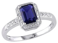 Other 10k White Gold Diamond And 1.59 Ct Tgw Blue Sapphire Fashion Ring Gh I2-i3