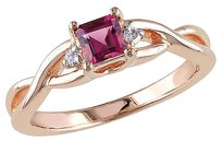 Other Pink Sterling Silver Diamond 13 Ct Pink Tourmaline Crossover 3-stone Ring