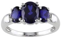 3.50 Ct Oval Blue Sapphire 3 Three Stone Ring In Sterling Silver