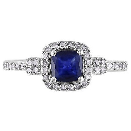 Other 10k White Gold 15 Ct Diamond 34 Ct Diffused Sapphire Fashion Ring Gh I1-i2