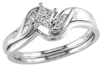 Other 14k White Gold 14 Ct Princess Parallel Baguette Diamonds Bridal Set Ring