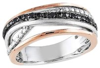 Other Amour Pink Silver Rose Gold Black Diamond Crossover Three-tonefashion Ring