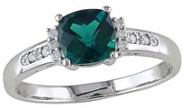 10k White Gold Diamond And 1 Ct Tgw Emerald Fashion Ring Gh I2i3