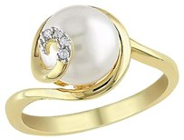 0.02 Ct Diamond 9 - 9.5 Mm White Freshwater Pearl Ring Yellow Silver Gh I2i3