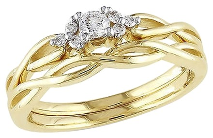 Other 10k Yellow Gold 16 Ct Diamond Tw Bridal Set Crossover Ring Gh I2-i3