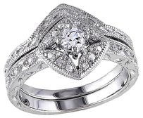 Other Sterling Silver 110 Ct Diamond White Sapphire Geometric Bridal Set Ring