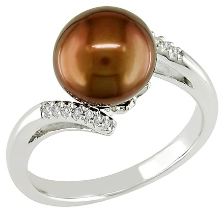 Other Silver 9.5-10 Mm Brown Chocolate Freshwater Pearl Diamond Ring 0.06 Ct G-h I3