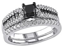 Other Sterling Silver 1 Ct Black White Princess And Round Diamonds Ring Gh I2-i3