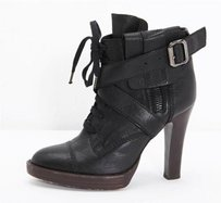 Other Phi Black Lace Up Buckle Ankle High Heel Pump Boots