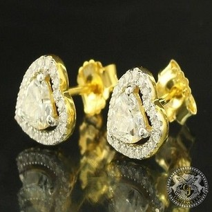 Female Ladies Moissanite Heart Lab Diamond Sterling Yellow Silver Earring Stud