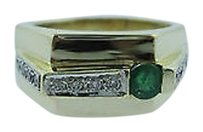Fine 14k Yellow Gold Emerald Diamond Men Ring