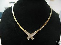 Fine 18kt Princess Cut Diamond Invisible X Necklace