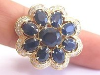 Fine Big Gem Blue Sapphire Diamond Yellow Gold Flower Ring 14kt 11.57ct
