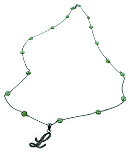 Fine Estate 14k White Gold Green Stone Cursive Necklace