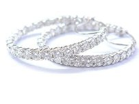 Fine Inside Out Diamond White Gold Hoop Earrings 54-stones 14kt 1.5 9.00ct