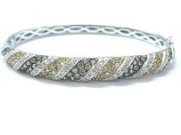 Fine Multi Color Brown White Diamond White Gold Bangle Bracelet 3.00ct 14kt