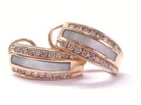 Fine Rose Gold Mother Of Pearl Diamond Huggie Earrings .65ct