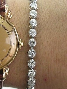 Fine Round Cut Diamond Bezel Set White Gold Tennis Bracelet 4.40ct Gvs2 6.5