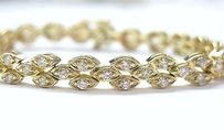 Fine Round Cut Diamond Designer Tennis Bracelet 3.15ct Yg