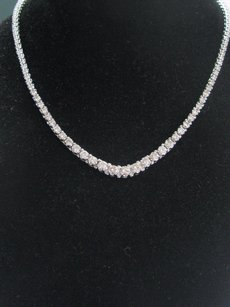 Fine Round Cut Diamond White Gold Riviera Necklace 119-stones 16.5 14kt 5.15ct