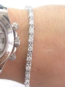 Fine Round Cut Diamond White Gold Tennis Bracelet U Shape 26-stones 2.34ct 7
