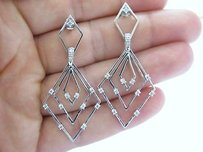 Fine 14kt Drop Down Diamond Earrings White Gold 0.60ct 2.5