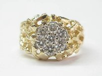 Fine Cluster Diamond Yellow Gold Jewelry Ring 1.00ct
