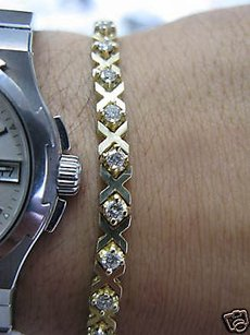 Fine Diamond Tennis X Bracelet Yg 2.16ct