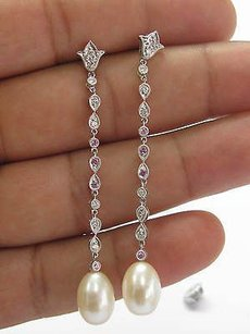 Fine Drop Diamond Sapphire Pearl Earrings 2.5 14kt Wg