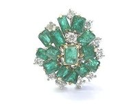 Fine Gem Green Emerald Diamond White Gold Big Jewelry Ring 6.10ct