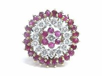 Other Fine Gem Ruby Diamond Circular Cluster Jewelry Ring 1.60ct